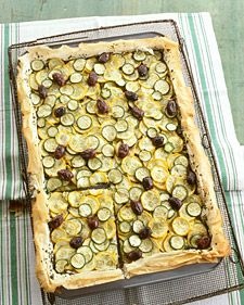 Summer squash Tart with Olives, great for a brunch, summer cocktail party or for a vegetarian fare.