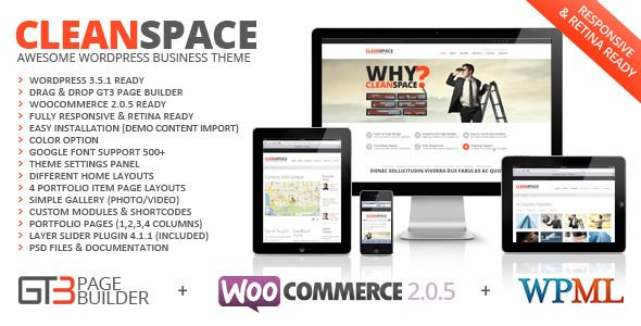 CleanSpace Retina Ready Business WP Theme   http://themeforest.net/item/cleanspace-retina-ready-business-wp-theme/3776000?ref=damiamio          CleanSpace Retina Ready Business WP Theme  CleanSpace – is a clean style and multi-purpose wordpress theme powered by GT3 Page Builder. It is greatly suitable for any kind of web sites, either it is a corporate/business site or it is a hair salon or portfolio site. The theme has a greate variety of pages, starting from 4 home page layouts and ending…