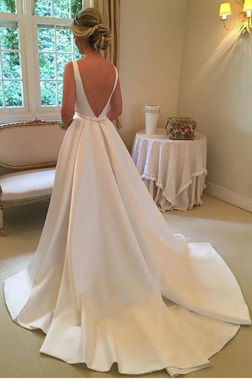 Bateau Neckline A-Line Satin Simple Wedding Dresses 2018
