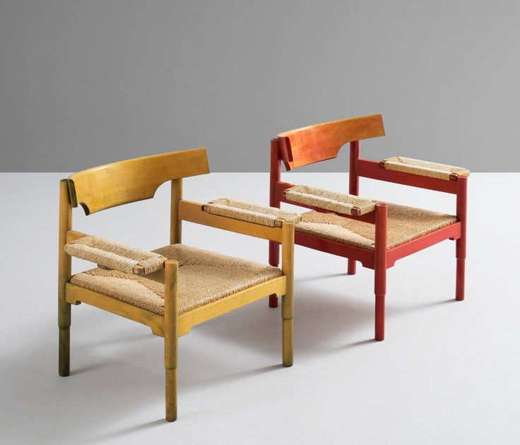 Set of Two Easy Chairs by Vico Magistretti for Cassina | From a unique…