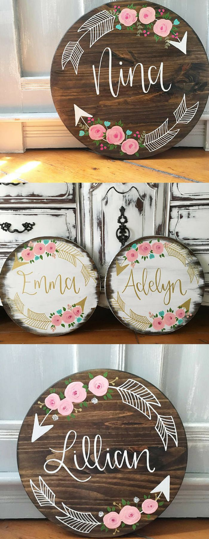 BEAUTIFUL Custom Made Name Signs With Floral Arrows! Great For A Nursery Or Little Girls Room! #affiliatelink #nursery #custom #personalized #girlsroomdecor