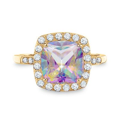 Lab-Created Mystic Fire® Topaz and White Sapphire Ring in 10K Gold with Diamond Accents - Zales