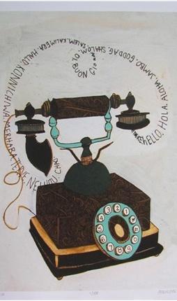 Hello quot  vintage telephone illustration art printVintage Telephone Illustration