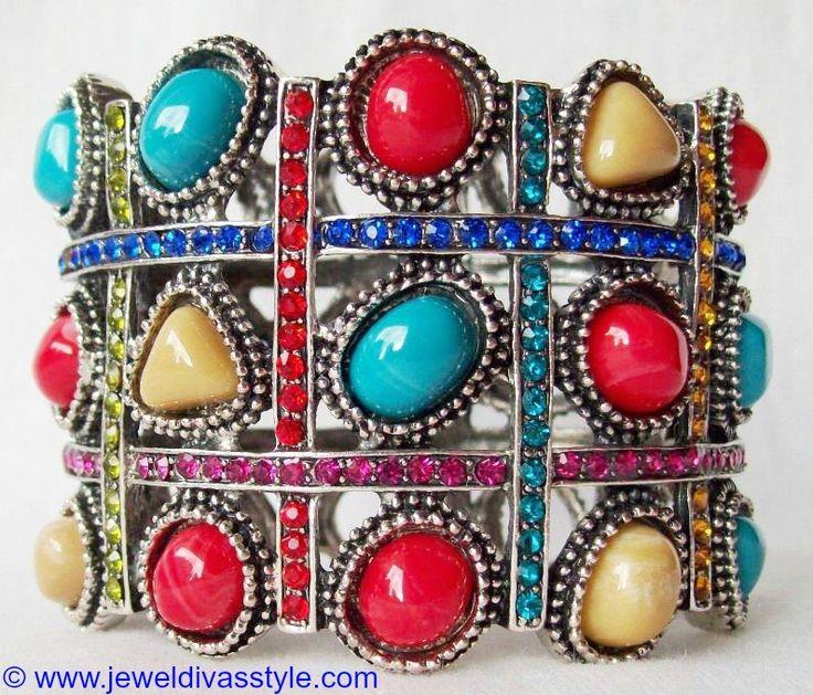 JDS - SILVER MULTI COLOURED STONE BANGLE - http://jeweldivasstyle.com/my-personal-collection-silver-multi-jewellery-10/