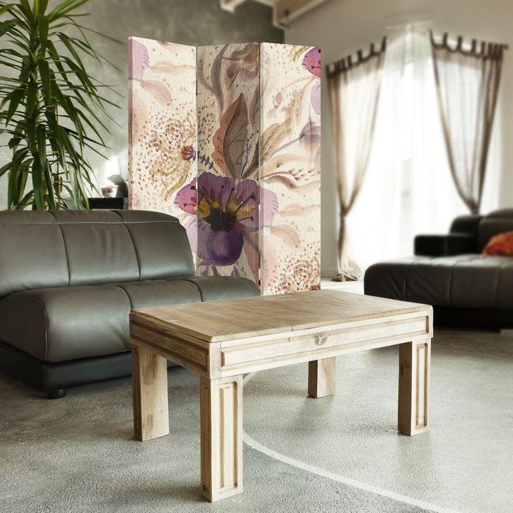 Fioletowe kwiaty, Parawan ozdobny jednostronny na płótnie - Canvas
