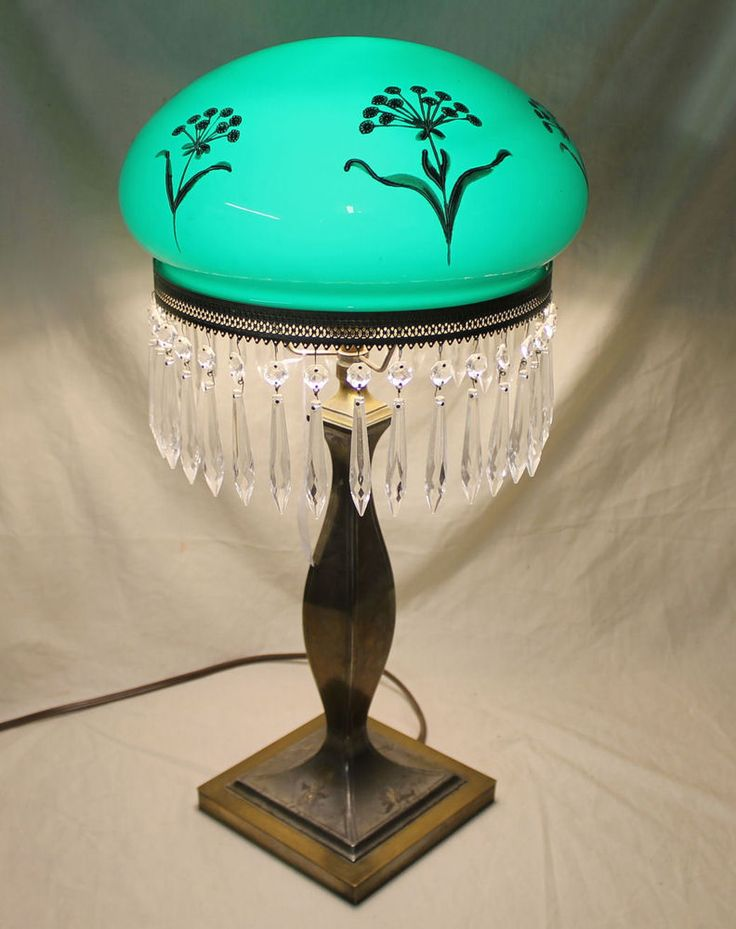 Antique Emerald Green Mushroom Shade Pairpoint Lamp