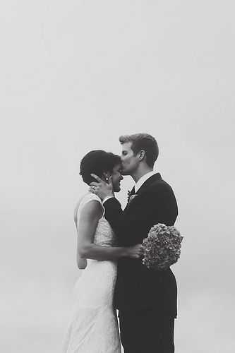 forehead kiss. black and white. perfection.