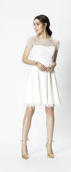 gefunden bei Happy Brautmoden Brautkleid kurz, kurzes Brautkleid, Rembo Styling, edel, elegant, Vintage, Hochzeitskleid