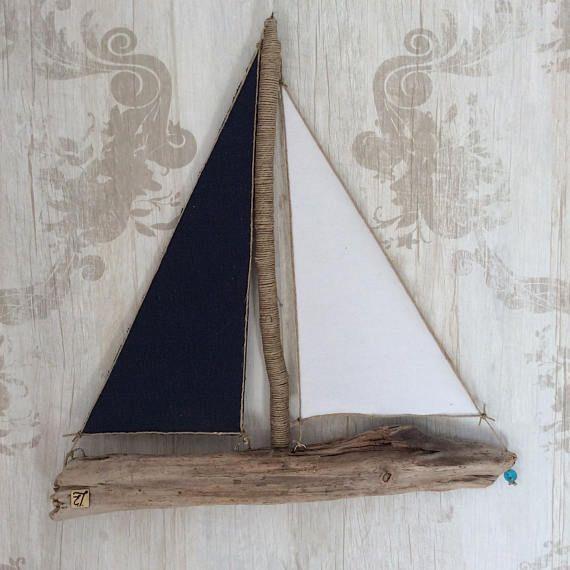Drijfhout strand decor-drijfhout kunst-drijfhout zeilboot - zeilboot - nautische cadeau-natuurlijke cadeau-hout kunst-home decor - woonkamer
