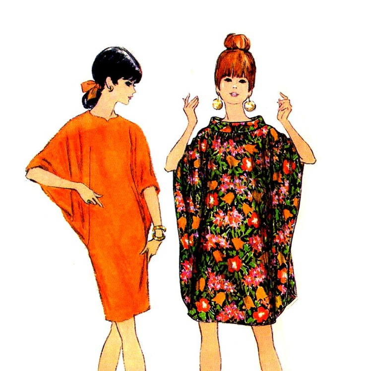 Mod 1960s Batwing Dresses Sewing Pattern McCalls 9149 Slim or Loose Dress Size Medium. $16.95, via Etsy.