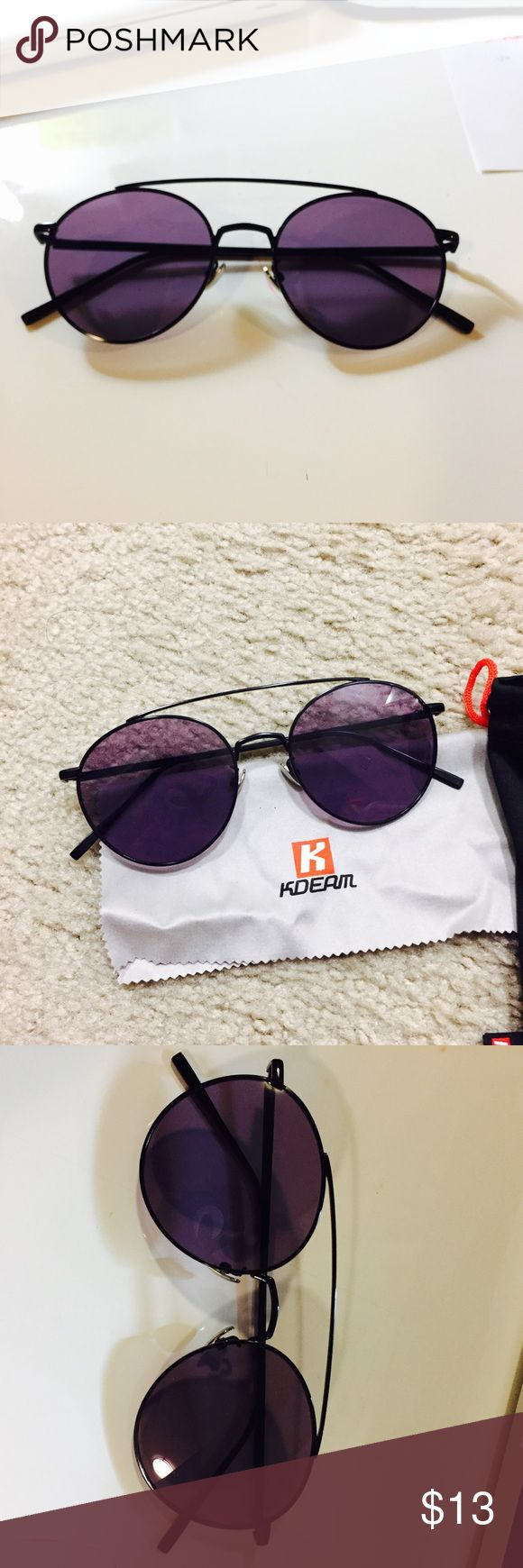 Purple round metal sunglasses brown bar ✨not brand listed Brand new✨purple tinted shade sunglasses UV protection 400 metal frames round shaped. Ray-Ban Accessories Sunglasses