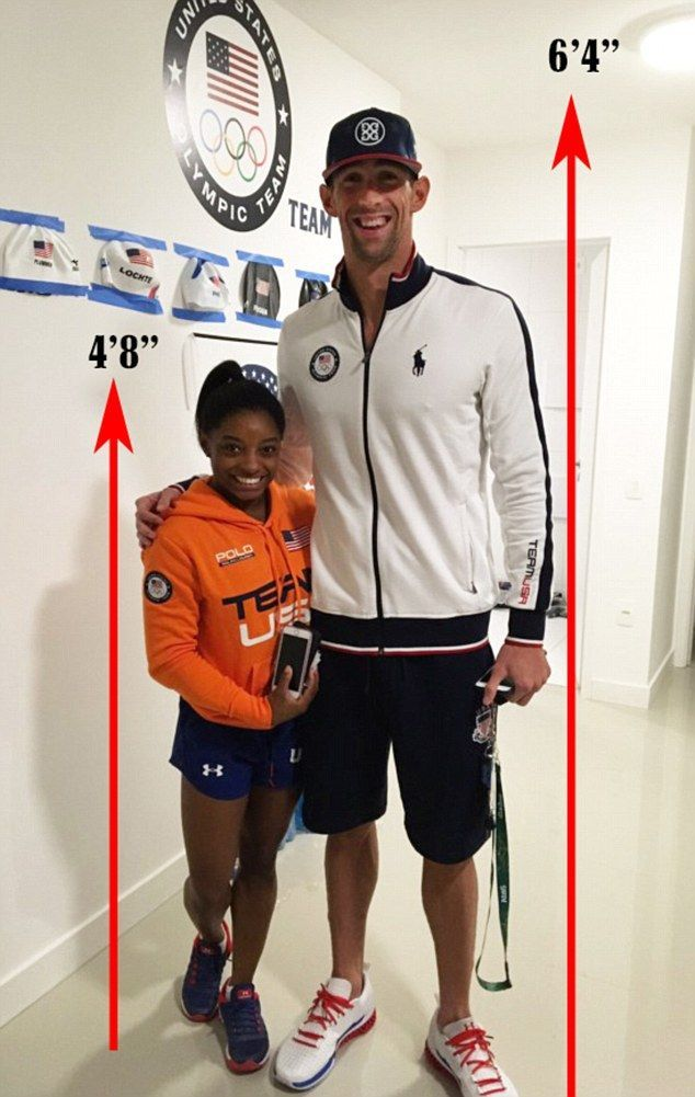 """6ft 4"""" Michael Phelps towers over 4ft 8"""" Simone Biles ...but they're both CHAMPIONS! #TeamUSA #Rio2016"""