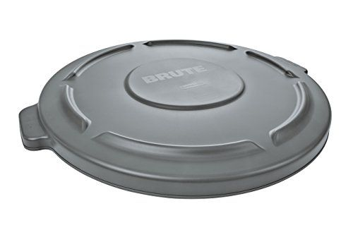Rubbermaid Commercial BRUTE Trash Can Flat Lid Round Gray 44 Gallon Gray FG264560GRAY