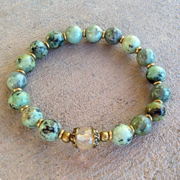 Bracelets - African Turquoise and Yellow Quartz Bracelet