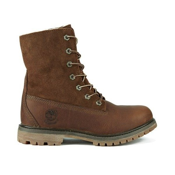 Timberland Women's Authentics Teddy Fleece Waterproof Fold-Over Boots... ($230) ❤ liked on Polyvore featuring shoes, boots, brown, fold over ankle boots, short boots, brown ankle boots, waterproof winter boots and flat boots