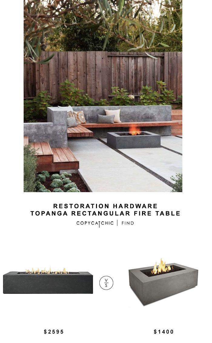 Restoration Hardware Topanga Rectangular Fire Table
