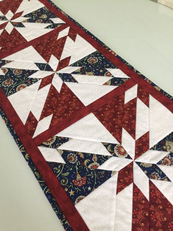 Patriotic Americana Hunter Star Quilted Table By