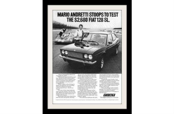 "1973 FIAT 128 & Ferrari Race Car Ad ""Mario Andretti"""