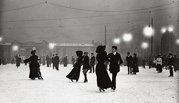 Ice skating at night in Vienna... Photograph circa 1910