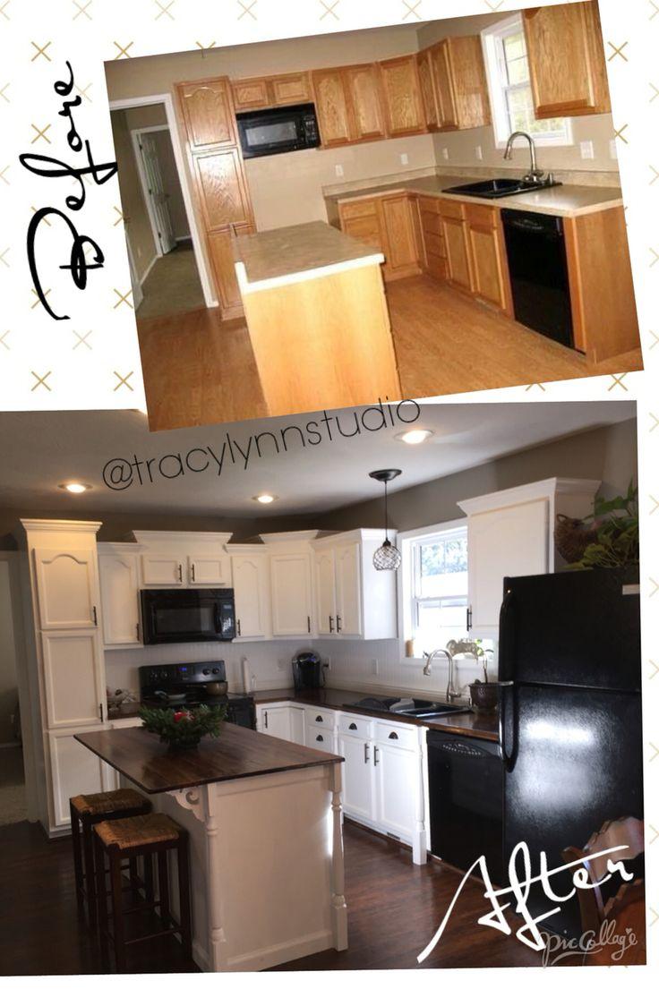 My DIY Budget Kitchen Makeover! White Cabinets - Valspar Swiss Coffee; Walls - Valspar Aspen Gray; Wood Countertop/Island - Minwax Chestnut Stain; Light Fixture - Lowe's; diy, modern farmhouse, renovation, before & after