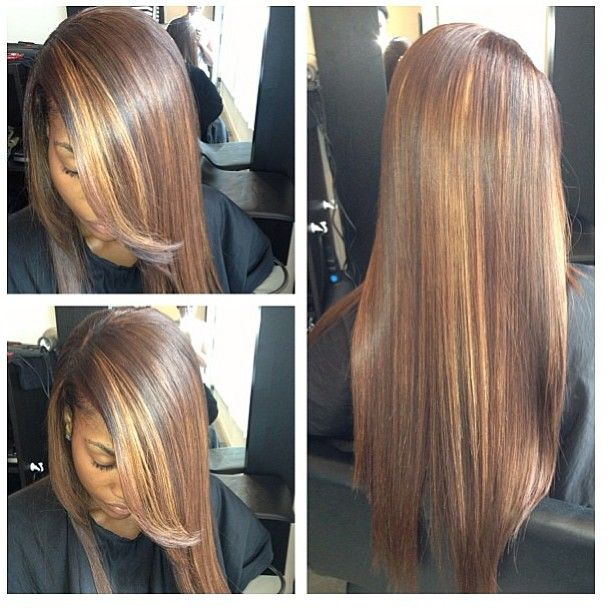 .@sassymitchellhair | Sew-in and color with highlights by @tamelalemieux located in Atlanta. #sassy...