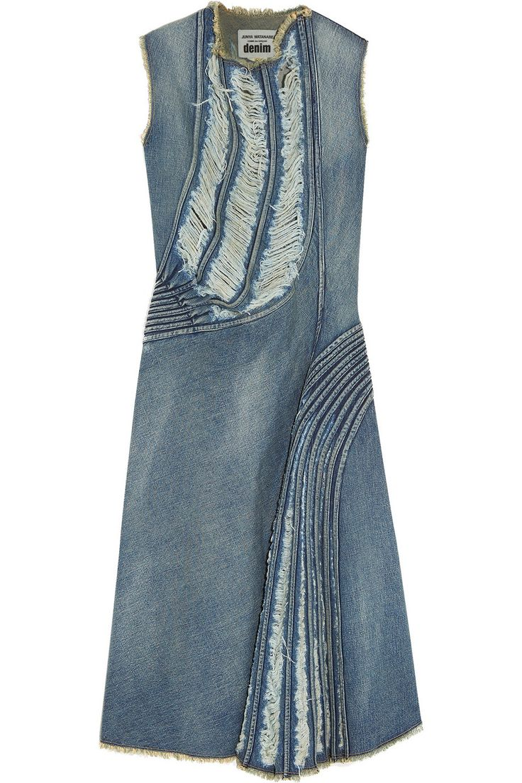 Junya Watanabe | Distressed denim midi dress | NET-A-PORTER.COM