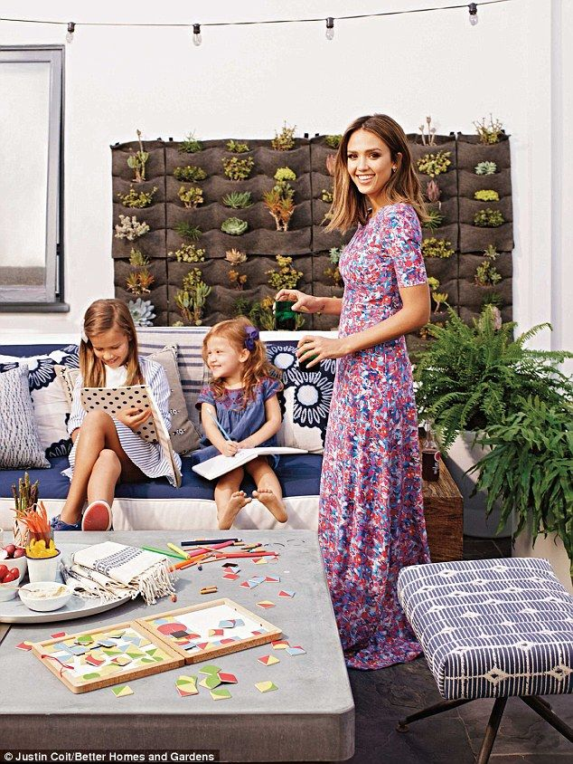 Home sweet home: Jessica Alba posed with her daughters Honor and Haven inside their Los Anglees home for the February 2016  issue of Better Homes and Gardens.