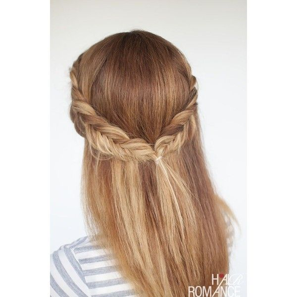 Reverse fishtail braid tutorial two cute half up hairstyles to try... ❤ liked on Polyvore featuring accessories and hair accessories