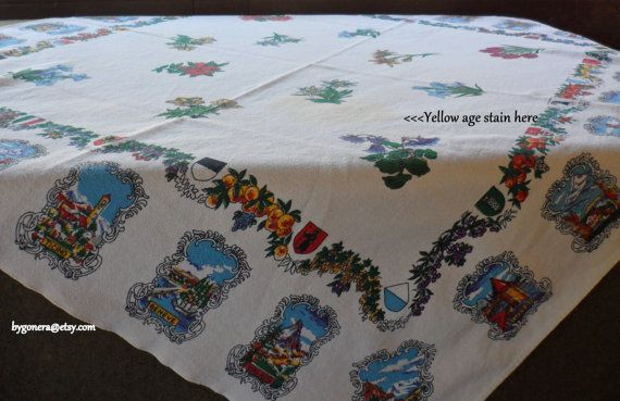 Vintage 1960s Square Tea Tablecloth from Switzerland by BYGONERA