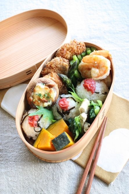 Japanese Bento Boxed Lunch with Pickled Plum on Rice Balls