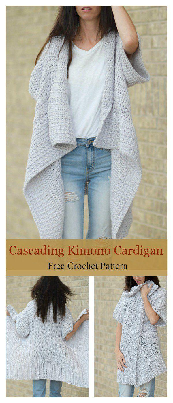 Em cascata quimono cardigan padrão livre de crochê