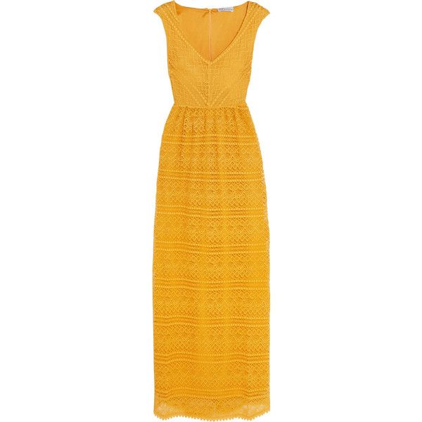 REDValentino Crocheted lace maxi dress ($710) ❤ liked on Polyvore featuring dresses, v-neck dresses, yellow dress, maxi length dresses, v neck dress and crochet lace dress