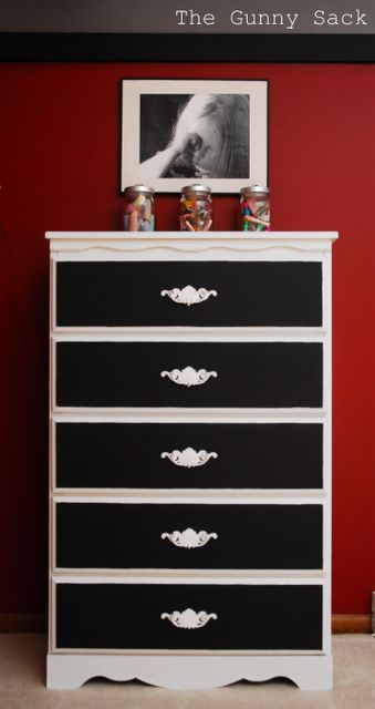 I have two solid wood dressers to refinish for the girls rooms. I am going to paint both white and use coloured chalkboard paint on the fronts of the drawers, in purple pink and green to go with their room colours.