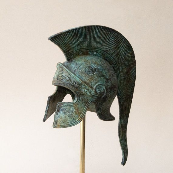 Bronze Greek Helmet, Ancient Corinthian Helmet, Long Crest Helmet, Bronze Metal Sculpture, Ancient Greece Military Helmet, Collectible Art