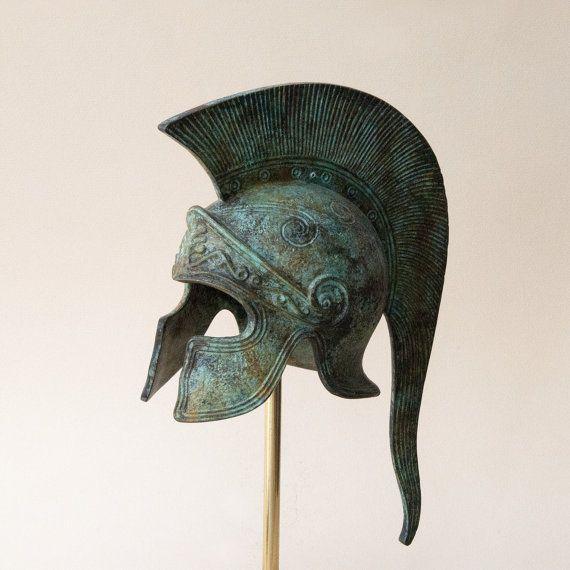 Bronze grec casque casque corinthien antique longue par GreekMythos