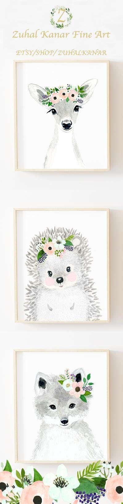 Flowery cute animals wall prints