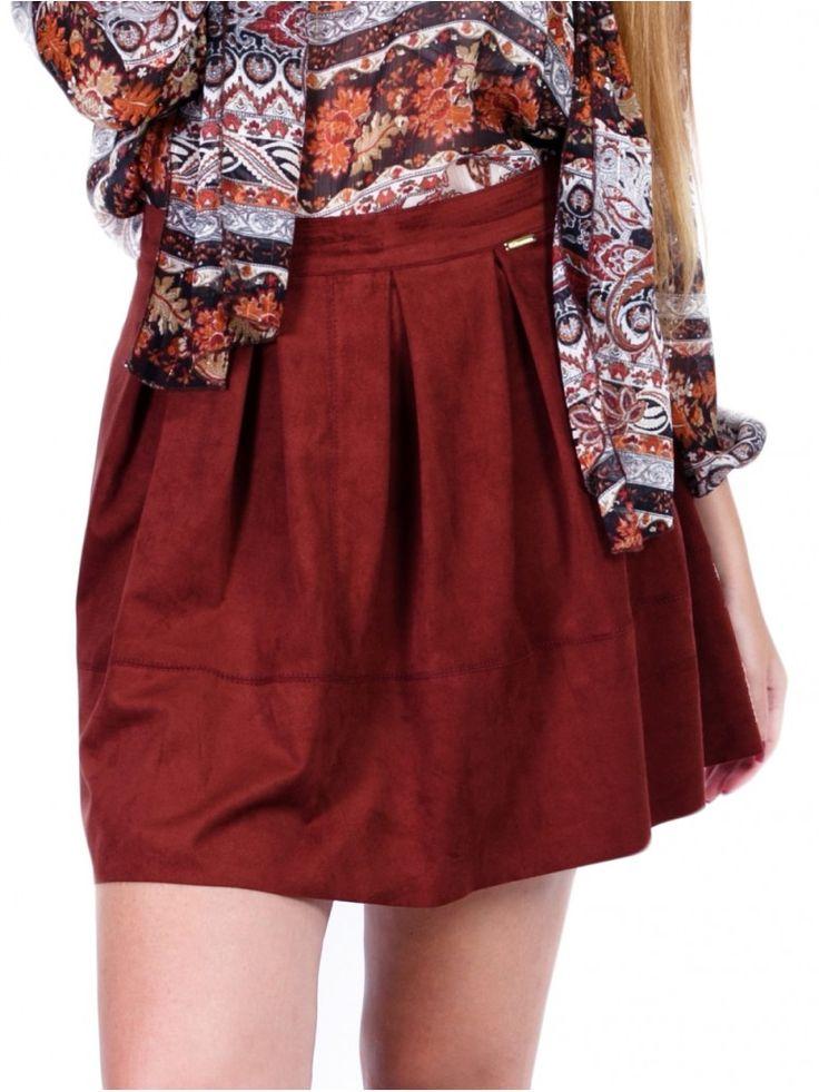 BSB Γυναικεία midi σουέτ φούστα, πιέτες, κεραμιδί χρώμα.   56,90 €