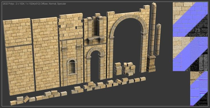 Modular temple normals and textures