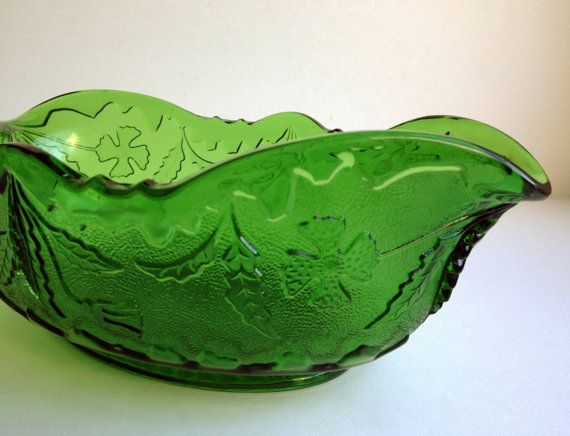 green glass serving bowl shamrock and by TheHaystackNeedle1, $18.00
