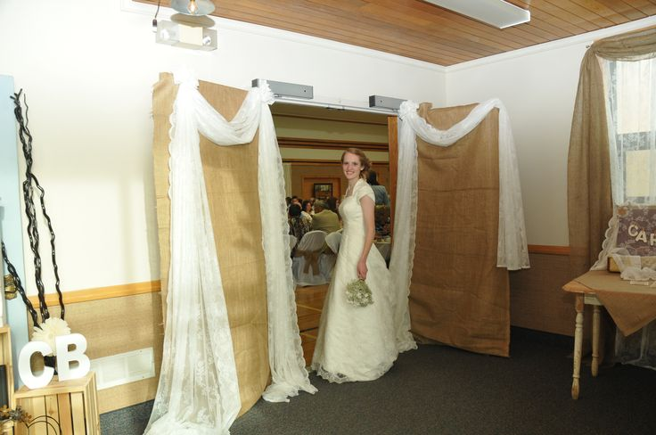 burlap and lace covered doors