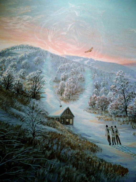 Winter Hike 16x20 Home Decor Art Quality Canvas Print,oil Painting  Indians