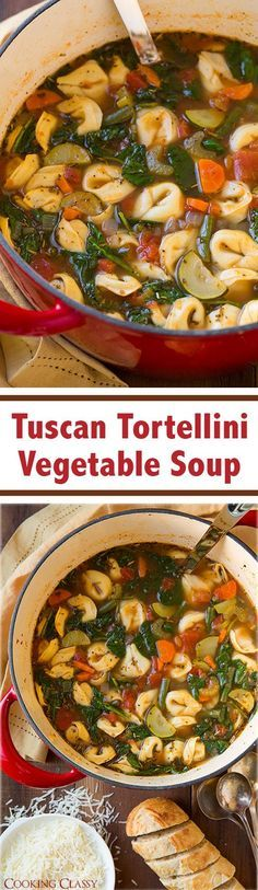 Tuscan Tortellini Vegetable Soup - this soup is easy to make and it tastes AMAZING! Like minestrone but with tortellini instead of kidney or white beans.
