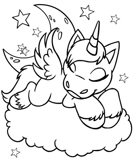coloring colouring faerie uni sleeping asleep cloud faerieland star stars moon - Drawing And Colouring