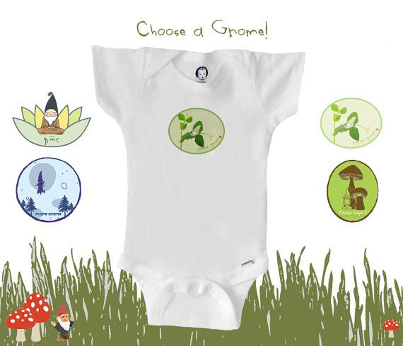 Organic baby clothes U CHOOSE A GNOME pick a by BoogalooBubbywear, $18.75