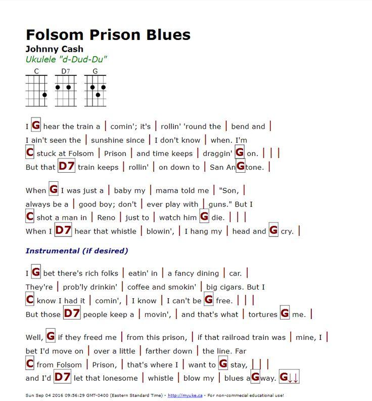 Folsom Prison Blues (Johnny Cash) - http://myuke.ca : Ukulele Songs u0026 Chord Sheets : Pinterest ...