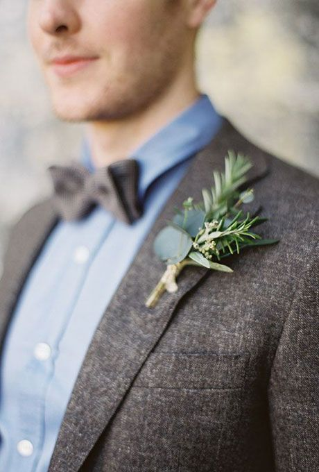 Groom's Boutonnieres for Fall Wedding: Boutonierre with Eucalyptus Leaves and Greenery | Brides.com