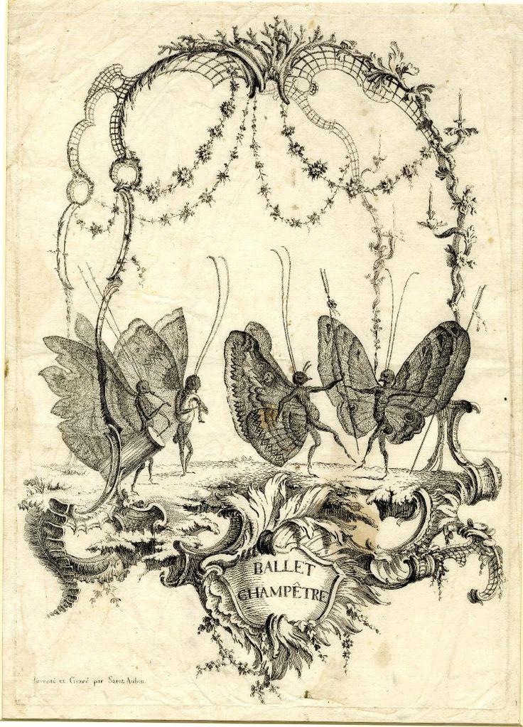 centuriespast:Essay de papilloneries humaines / Ballet champêtre  Print made by Charles Germain de Saint-Aubin 1756-1760  The British Museum