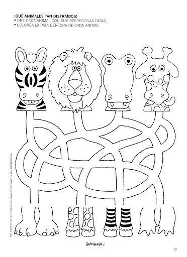 4 labyrinthes pour rejoindre les pattes et les têtes d'animaux