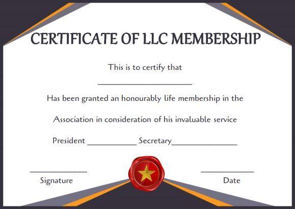 Free llc Membership Certificate Templates