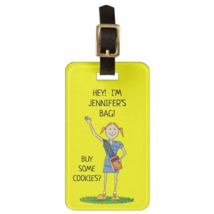 Neon Yellow Girl Scout Cadette | Custom Luggage Tag - travel luggage tags personalize customize your name diy